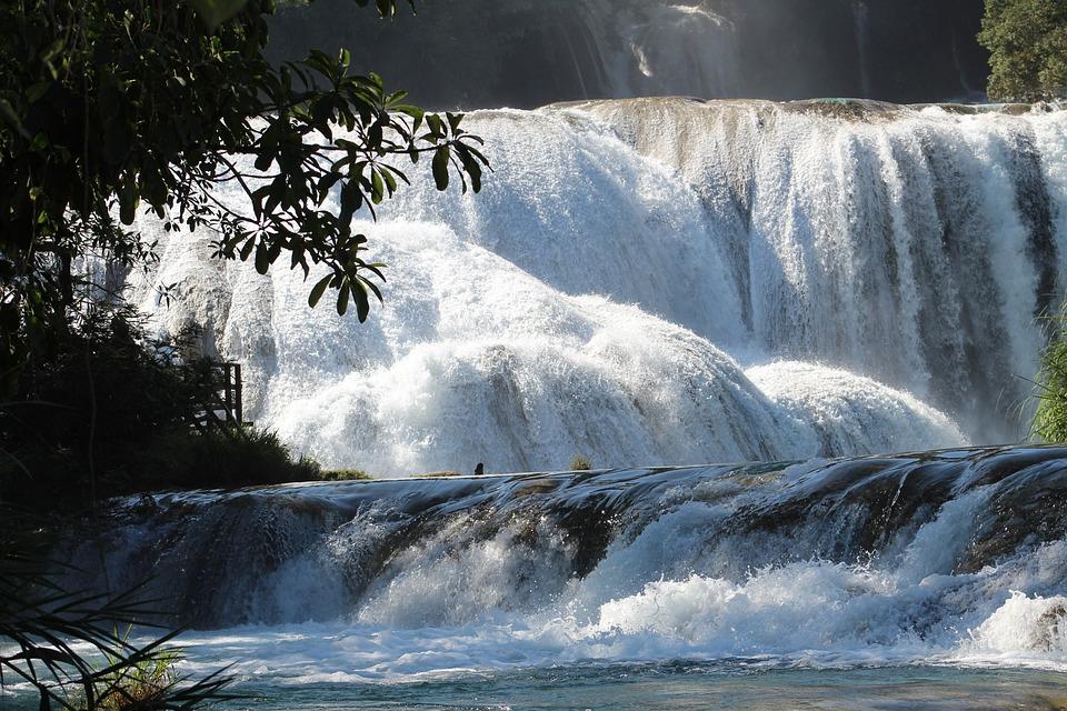 Waterfall, Water, Blue, Chiapas, Mexico, Landscape