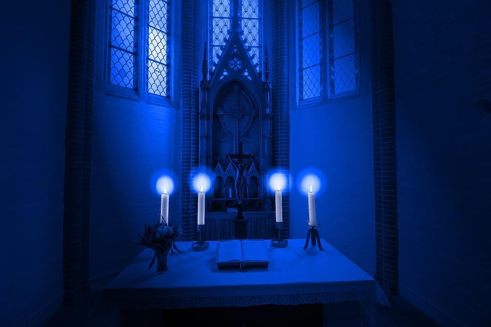 Altar, Candles, Light, Blue, Faith, Hope, Church