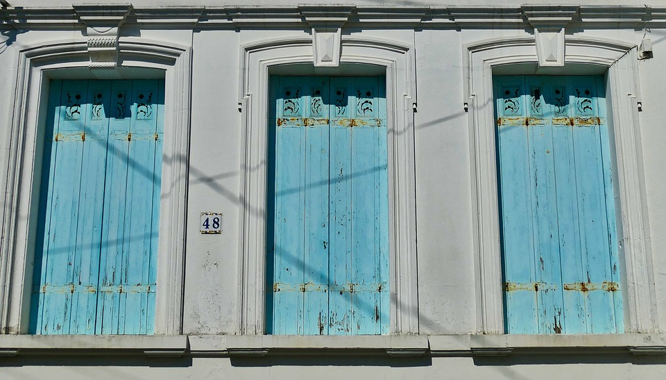 Architecture, Facade, Shutters, Window, Blue, Closed