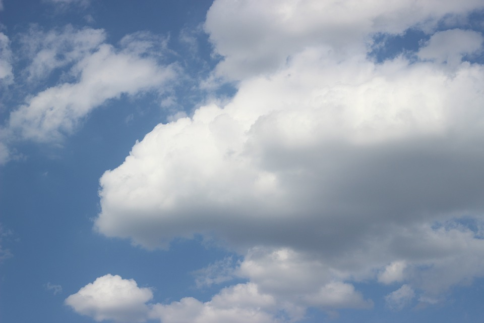 Blue, Sky, White, Fluffy, Clouds, Environment