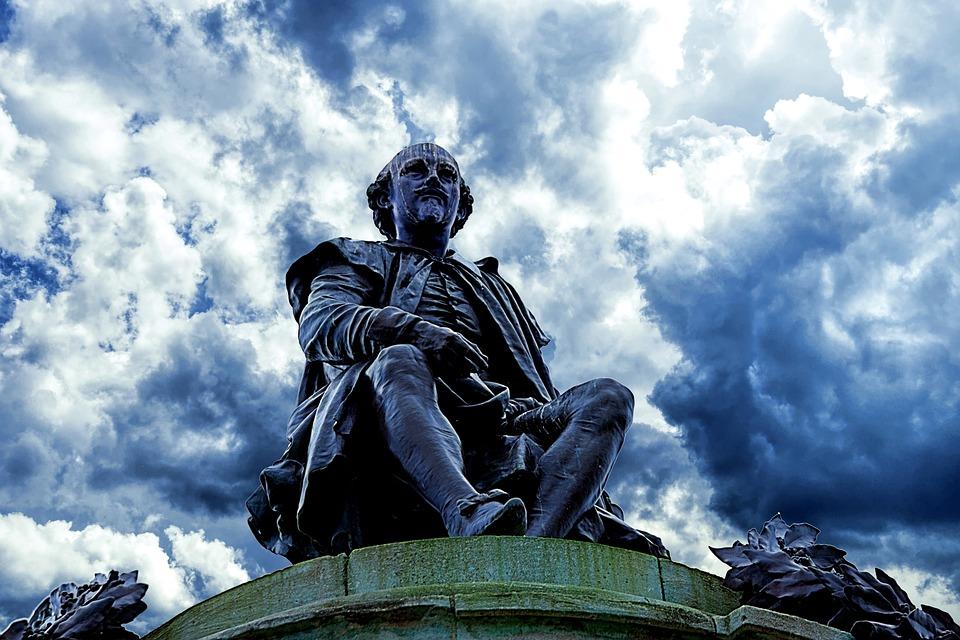 Shakespeare, Statue, Blue Cloudy Sky, Memorial, Bronze