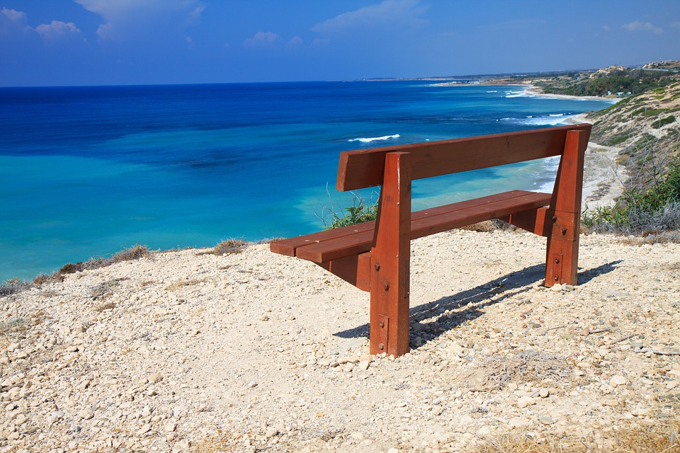 Bench, Blue, Coast, Landscape, Nature, Ocean, Peace