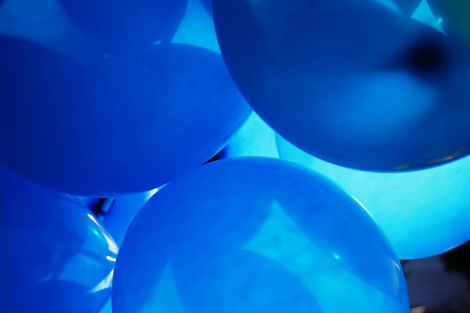 Balloons, Color, Blue, Sun