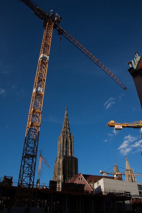 Site, Cranes, Sky, Blue, Construction, Münster