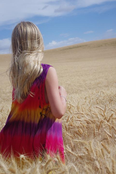 Wheat, Field, Blue, Golden, Girl, Blonde, Crop
