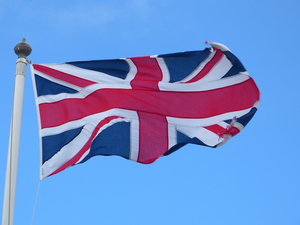 Flag, United Kingdom, Union Jack, Flutter, Cross, Blue