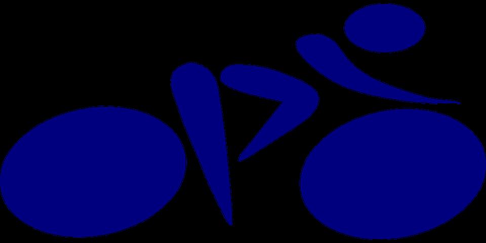 Cyclist, Bike, Pictogram, Sport, Blue