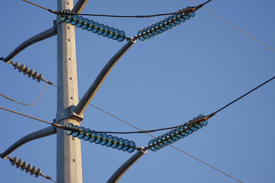 Power Lines, Glass, Blue, Energy, Electric, Electricity
