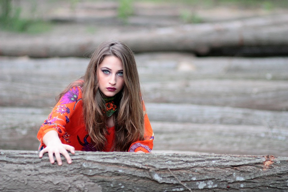 Girl, Orange, Wood, Timber, Blue Eyes, Beauty