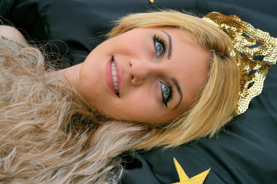 Girl, Blonde, Blue Eyes, Stars, Princess, Portrait
