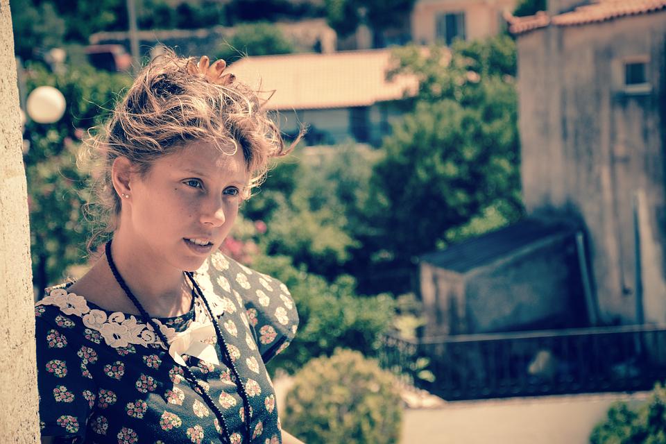 Blonde, Blue Eyes, Evening Sun, Girl, Greece, Vintage