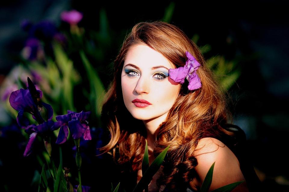 Girl, Mov, Flowers, Iris, Blue Eyes, Blonde, Beauty