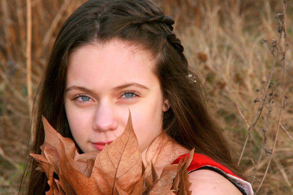 Girl, Portrait, Blue Eyes, Leaves, Nice