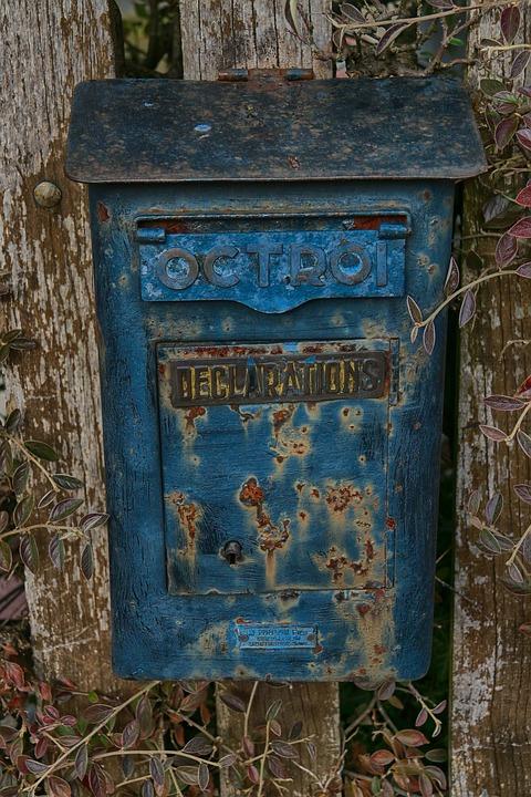 Mail, Boite-aux-lettres, Letters, Factor, Metal, Blue