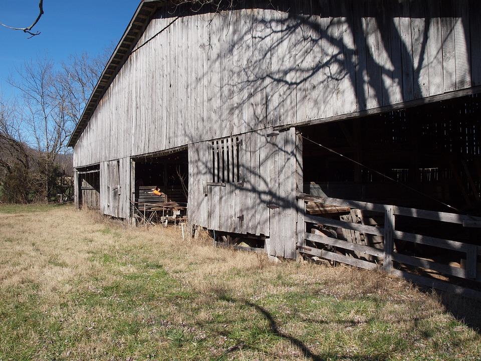 Barn, Wood, Old, Farm, Blue, Sky