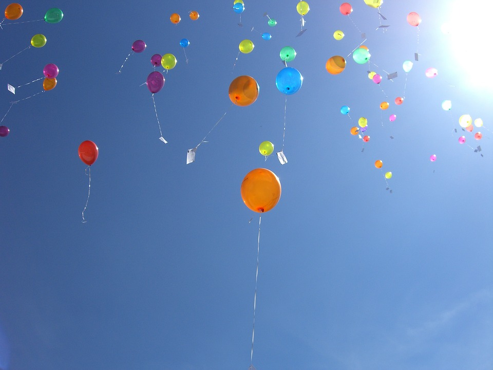Sky, Balloons, Blue, Helium, Flap Away, Colorful
