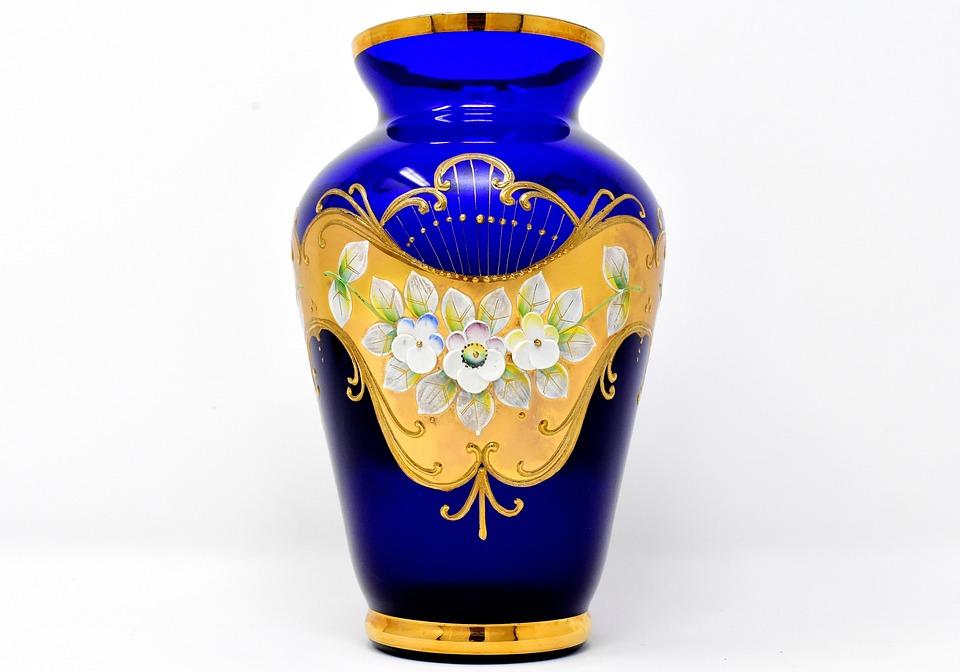 Vase, Blue, Ornaments, Glass, Blue Glass, Flowers