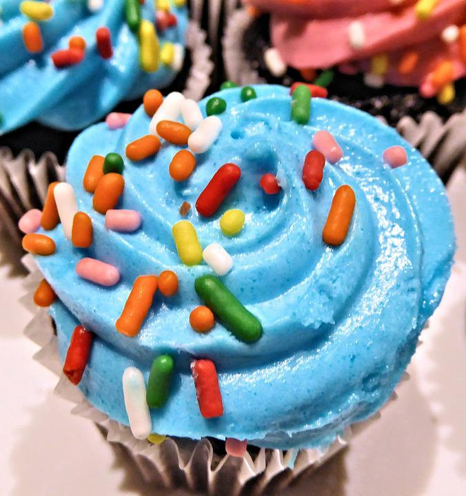 Chocolate Mini Cupcake, Blue Frosting, Sprinkles, Sweet