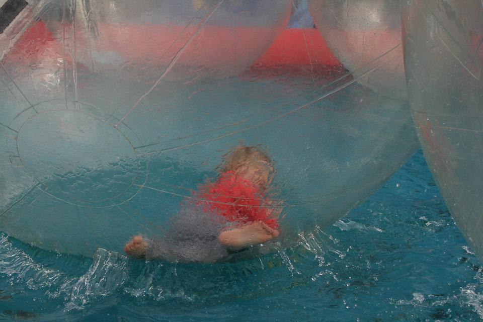 Water Polo, Child, Pool, Water, Giant Water Ball, Blue