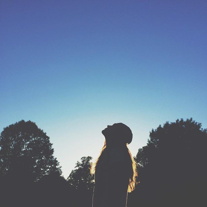Girl, Sunset, Shadow, Silhouette, Long Hair, Blue, Sky