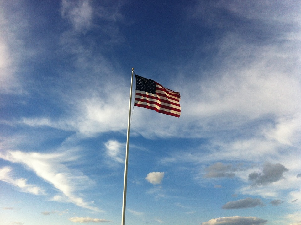 Flag, Blue, Sky, Patriotic, Glory, Park Maine