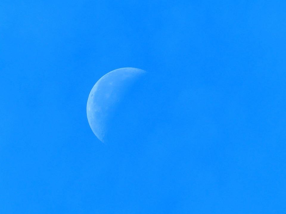 Half Moon, Sky, Blue, Clouds
