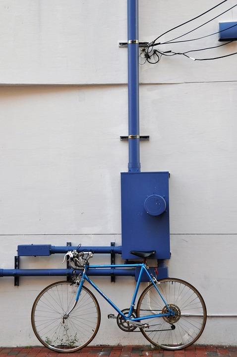 Bike, Hauswand, Blue, Facade, Wall, Road Bike