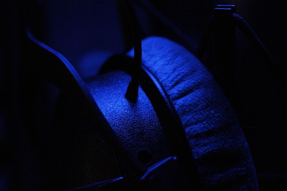 Dark, Blue, Headphones, Sound