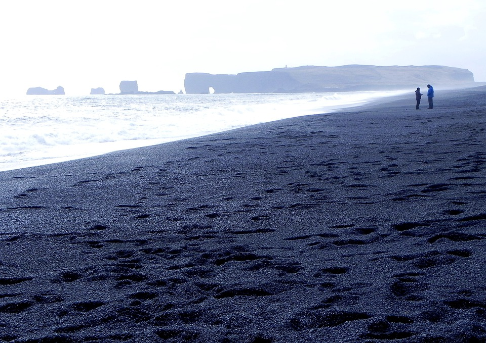 Iceland Black Beach Stones Mood Blue Rest Horizon