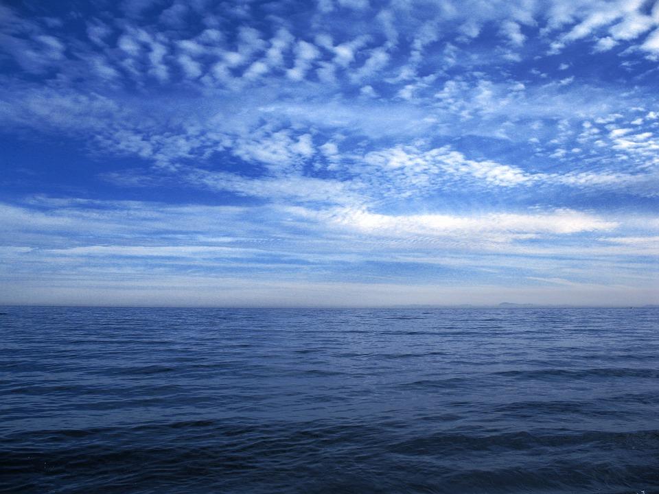 Sea, Blue, Clouds, Sky, Horizon