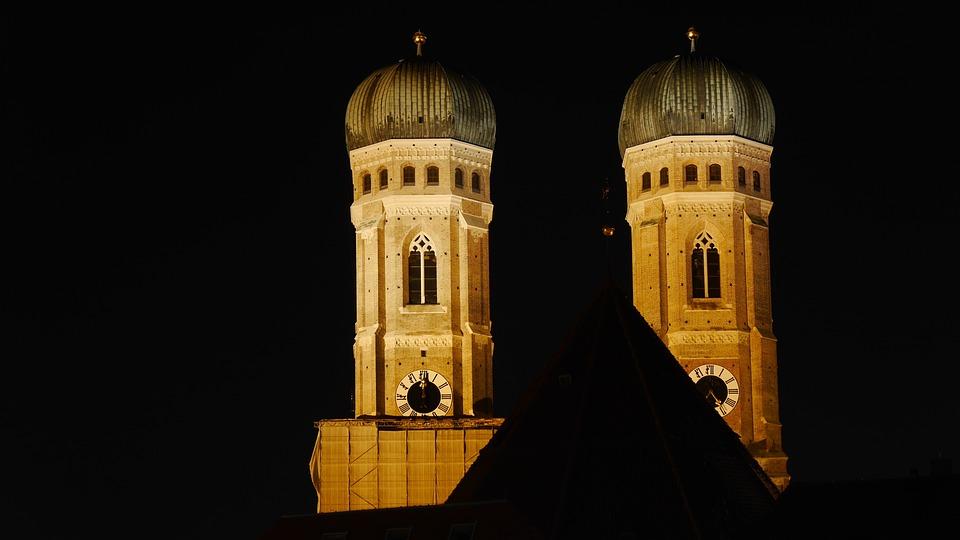 Munich At Night, Blue Hour, Frauenkirche, Munich