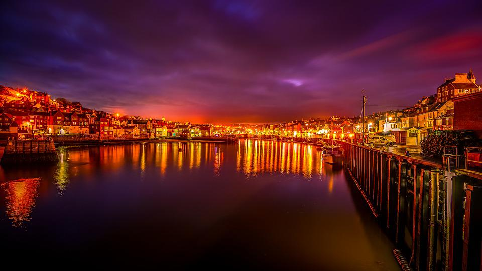 Whitby Harbour, Reflected Lights, Yorkshire, Blue Hour