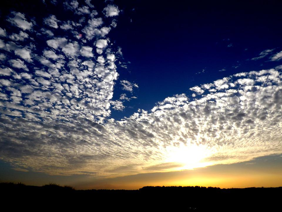 Cloud, Sky, Sunset, White, Blue, Fluffy, In The Evening