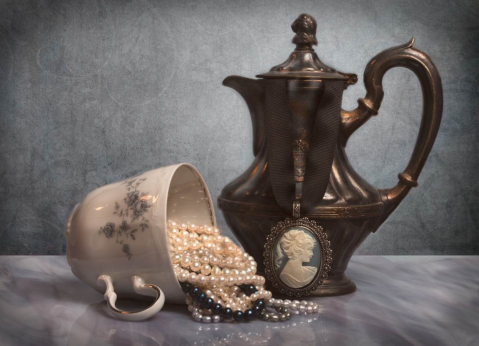 Jewelry, Coffee Pot, Coffee Cup, Pearls, Silver, Blue