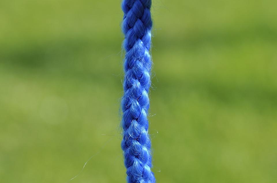 Rope, Blue, Knitting, Close