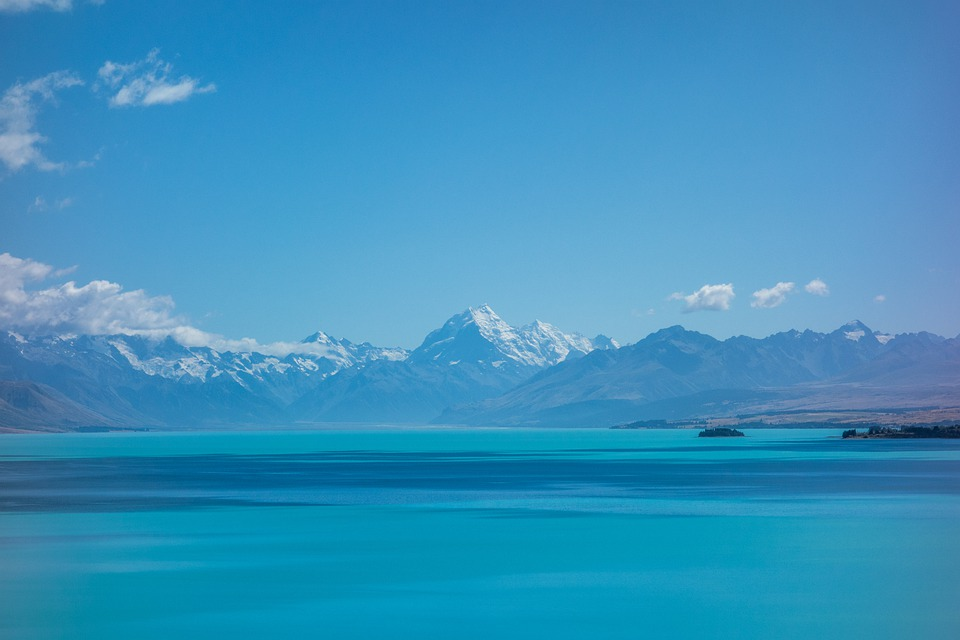 Pukaki, Lake, Blue Lake, New Zealand, Mountains