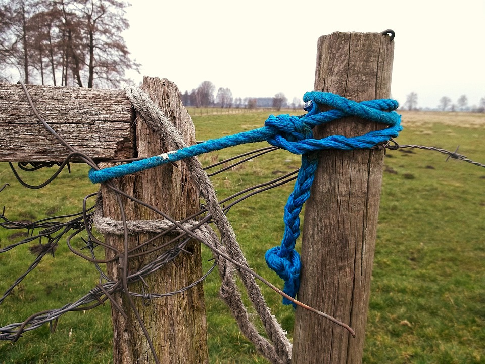Rope, Landscape, Field, Pasture, Pile, Fence, Blue