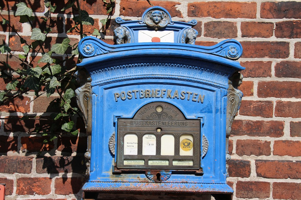 Mailbox, Old, Blue, Letter Boxes, Post Mail Box