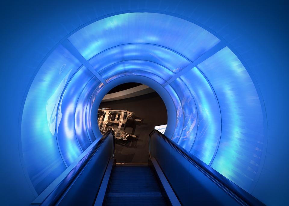 Escalator, Light, Light Tunnel, Blue, Futuristic