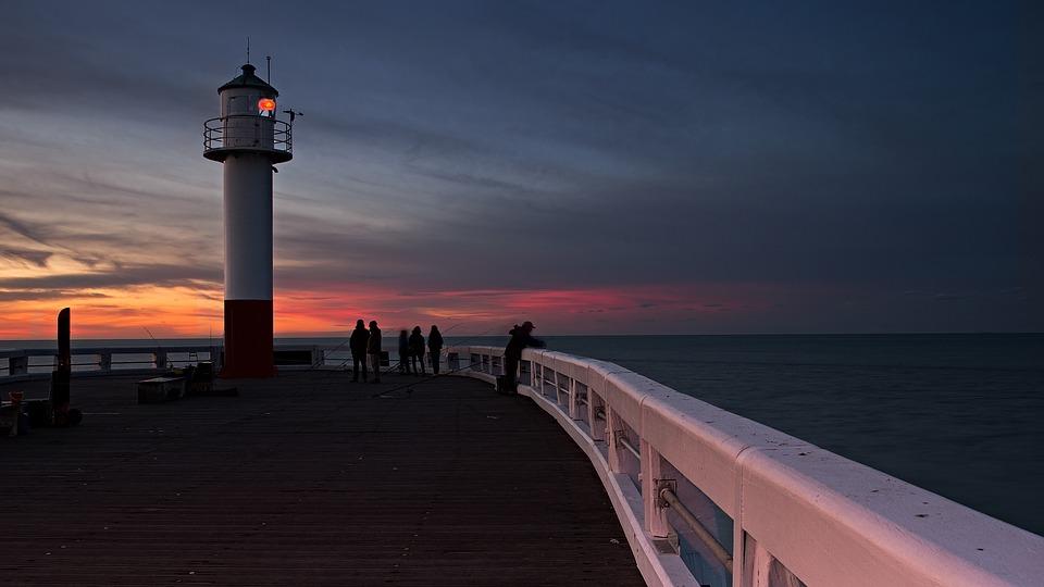 Lighthouse, Nieuwpoort, Air, Blue, Water, Pier, Lantern