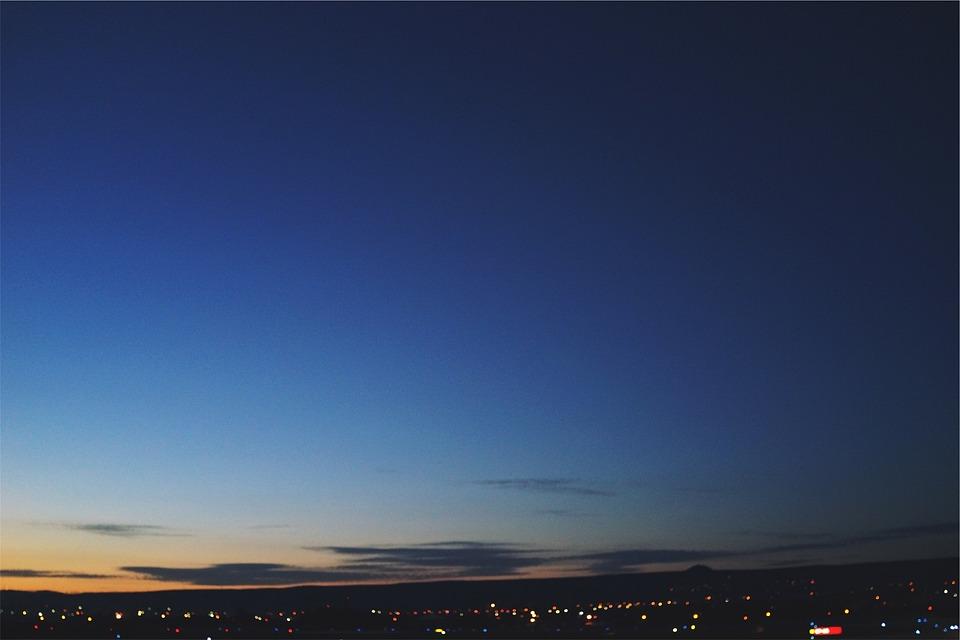 Sunset, Dusk, Sky, Blue, Night, Evening, Lights