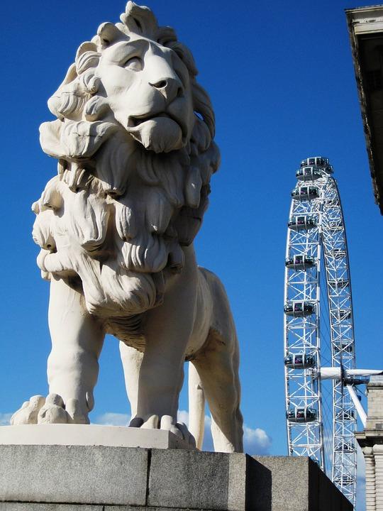 London, Lion, City, Sky, Blue