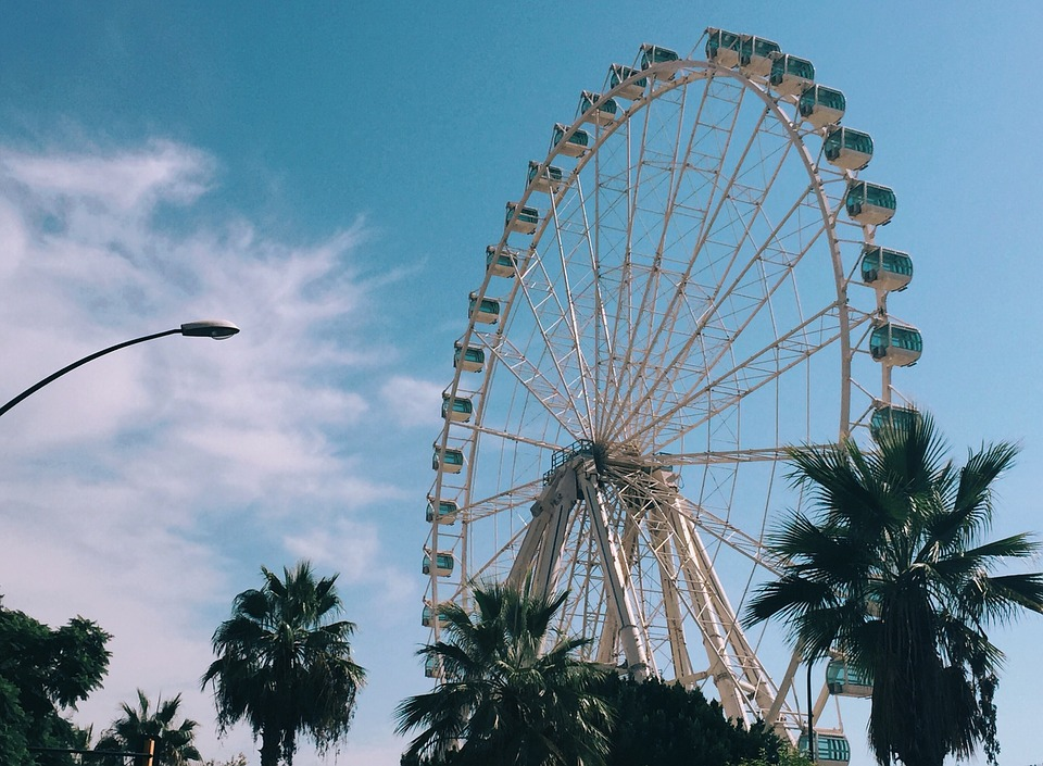 Noria, Malaga, Blue, Fairywheel, Fairy Wheel, Sky