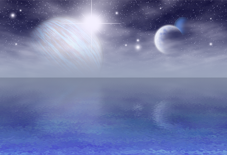 Blue, Planets, Fantasy, Mar, Ocean, Reflection