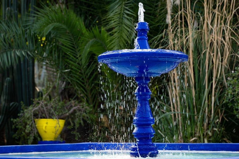 Fountain, Jardin Majorelle, Marrakech, Morocco, Blue