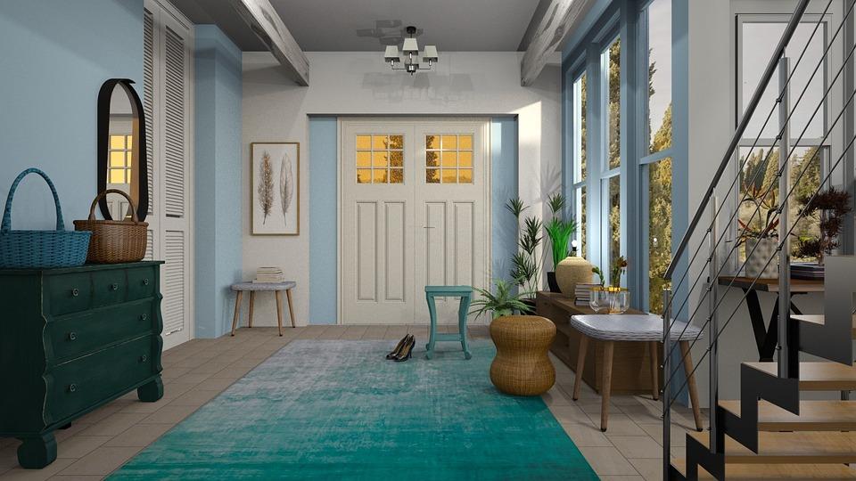 Vestibule, Hall, Door, Carpet, Blue, Staircase, Mirror