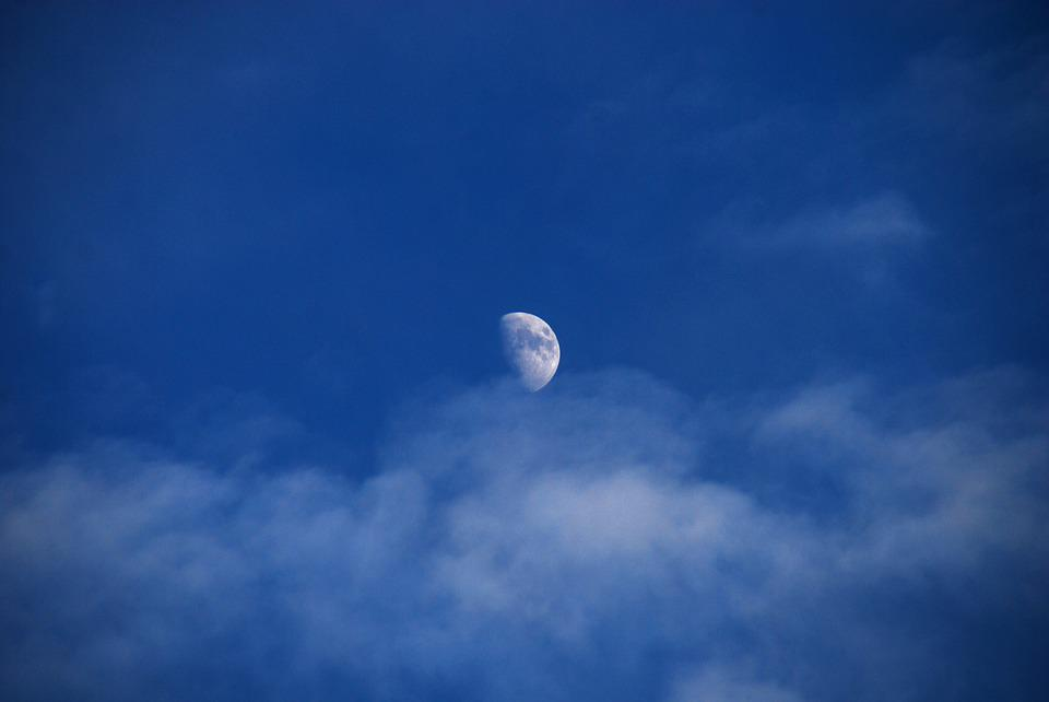 Moon, Sky, Blue, Night, Clouds, Nighttime, Astronomy