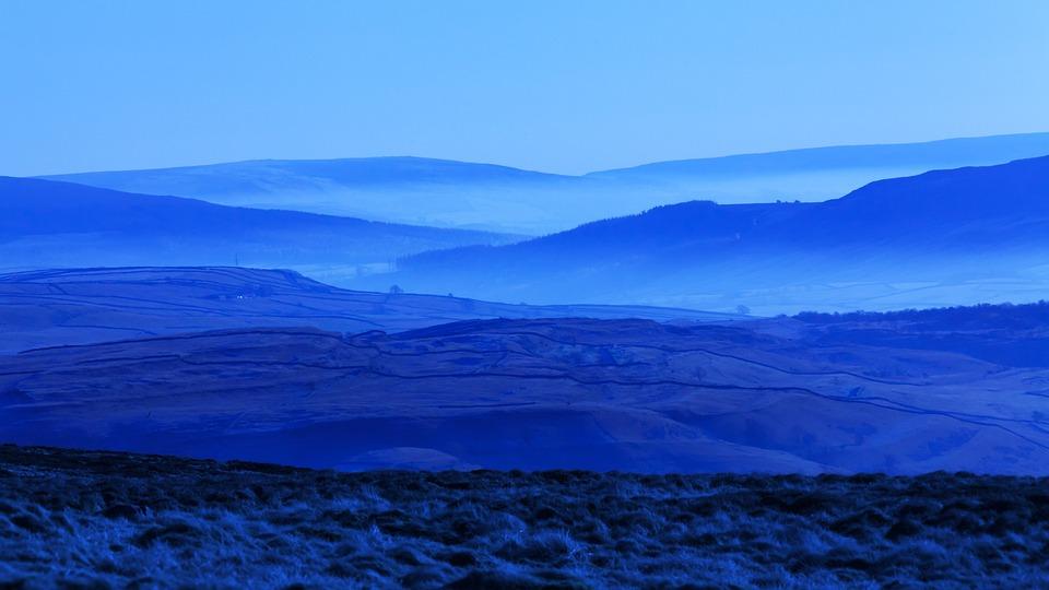 Blue, Fog, Foggy, Hill, Landscape, Mist, Misty, Morning