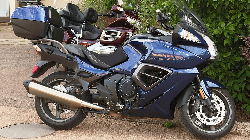Motorcycles, Saulieu, Morvan, Blue, Black, Triumph