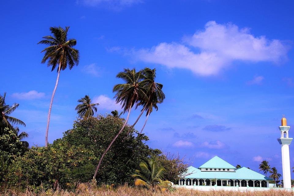 Maldives, Sky, Blue, Mosque, Faith, Travel, Paradise